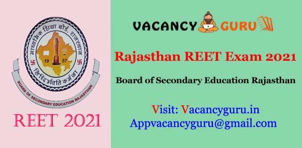 Rajasthan REET Exam Online Form 2021